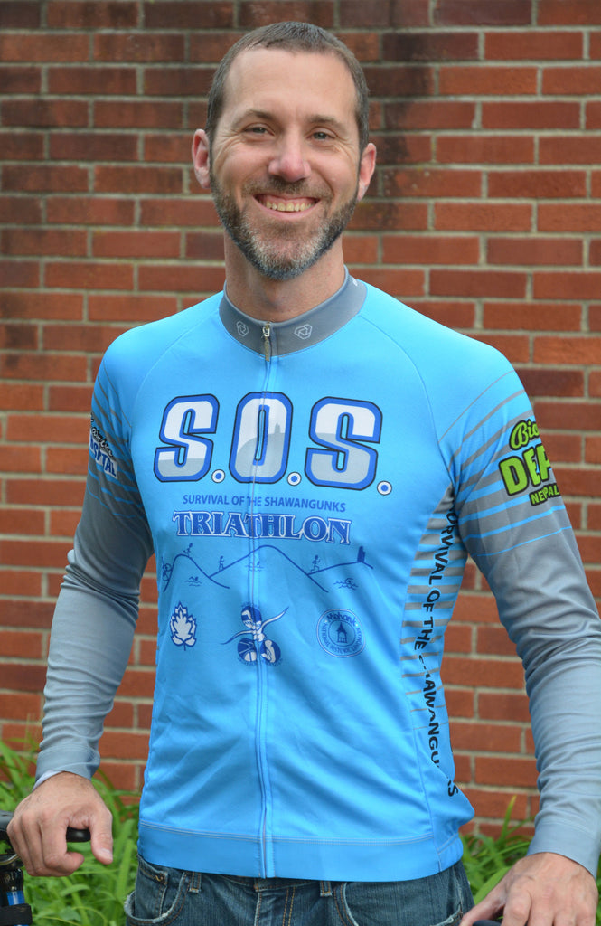 Cycling Jersey (Long Sleeve Unisex BLUE)