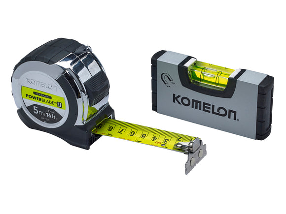 Komelon 5m (16ft) Tape with Mini-Level