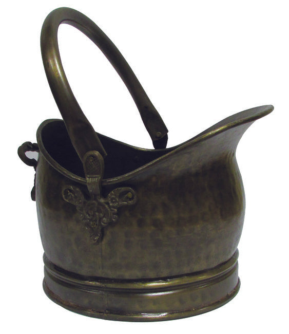 Antique Brass Coal Hod With Floral Motive