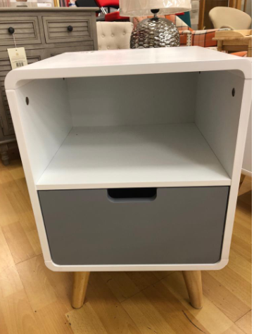 Milo One Drawer One Self Cabinet White & Grey