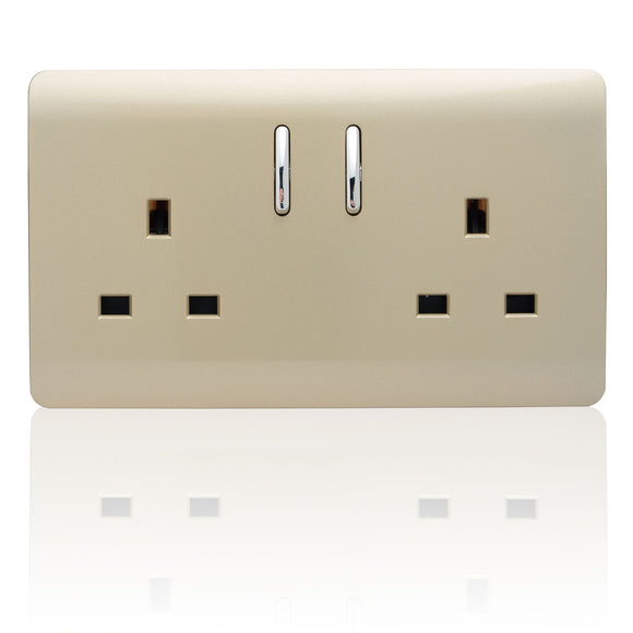 Trendi 2 Gang Switched Socket Gold