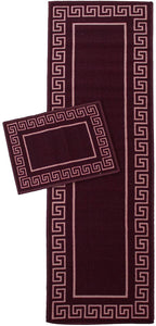 Greek Key Runner And Mat Red