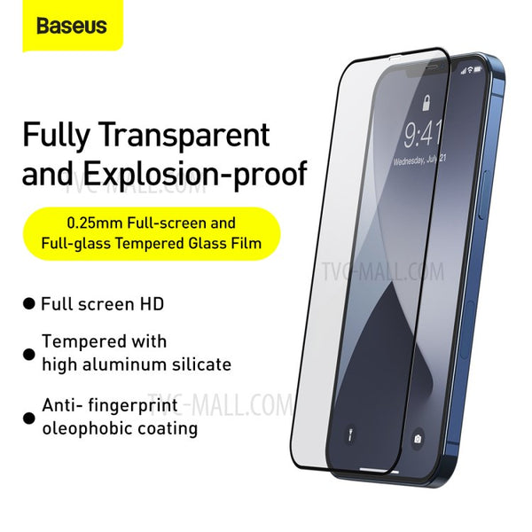 Baseus 0.3mm Full-screen and Full-glass Tempered Glass for iPhone 12 Series