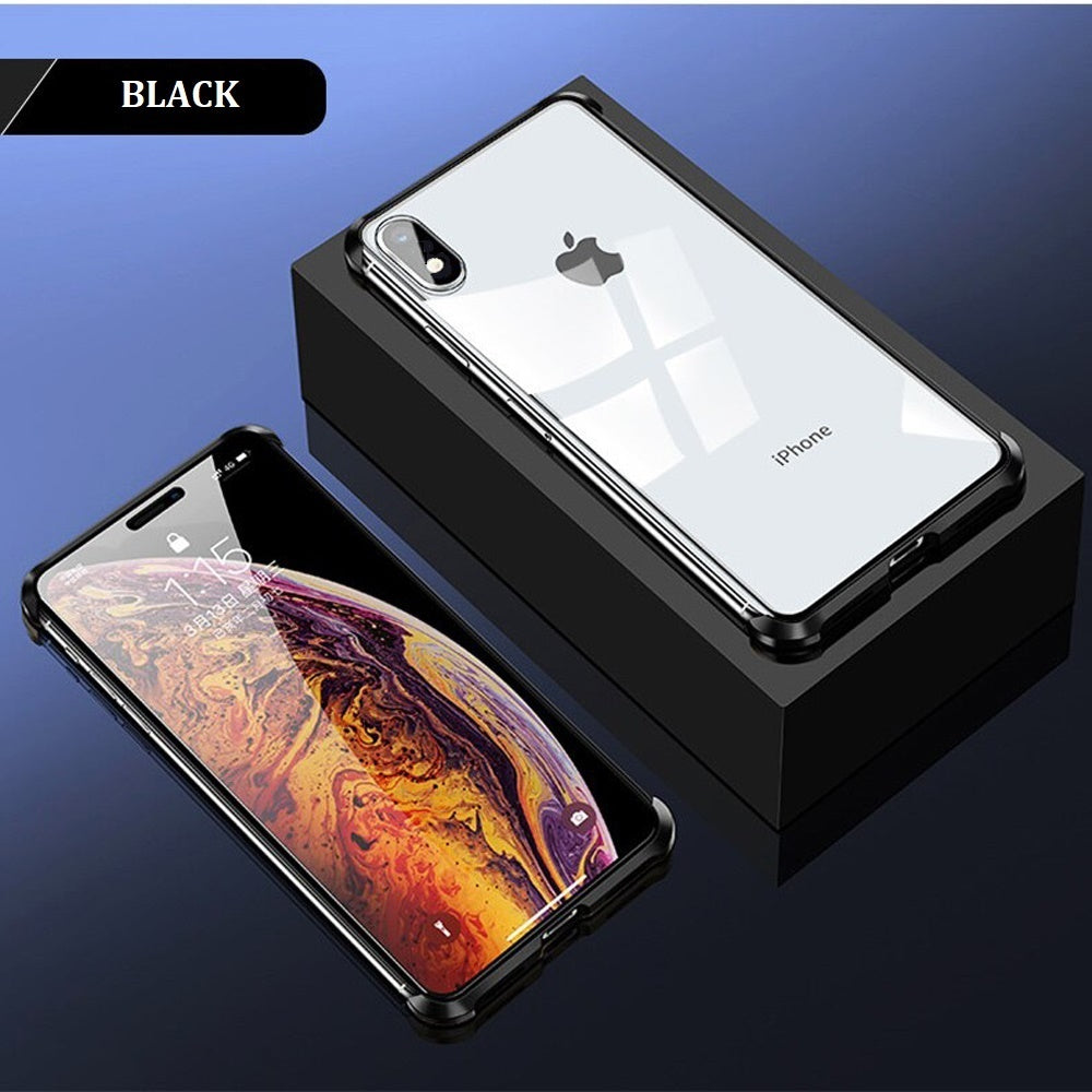 Frameless Double Sided Tempered Glass Magnetic Case  iPhone XR (Front + Back) - Planetcart