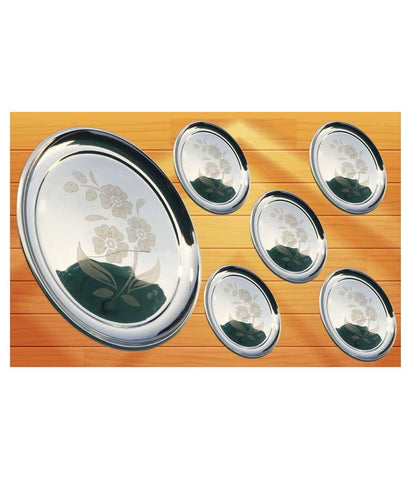6 Pcs Stainless Steel Full Size Serving Plate 12 inch
