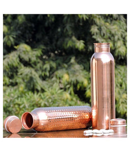 Pure Copper Water Bottle For Daily Use/Yoga/Gym Capacity - 1000 Ml - Set of 2