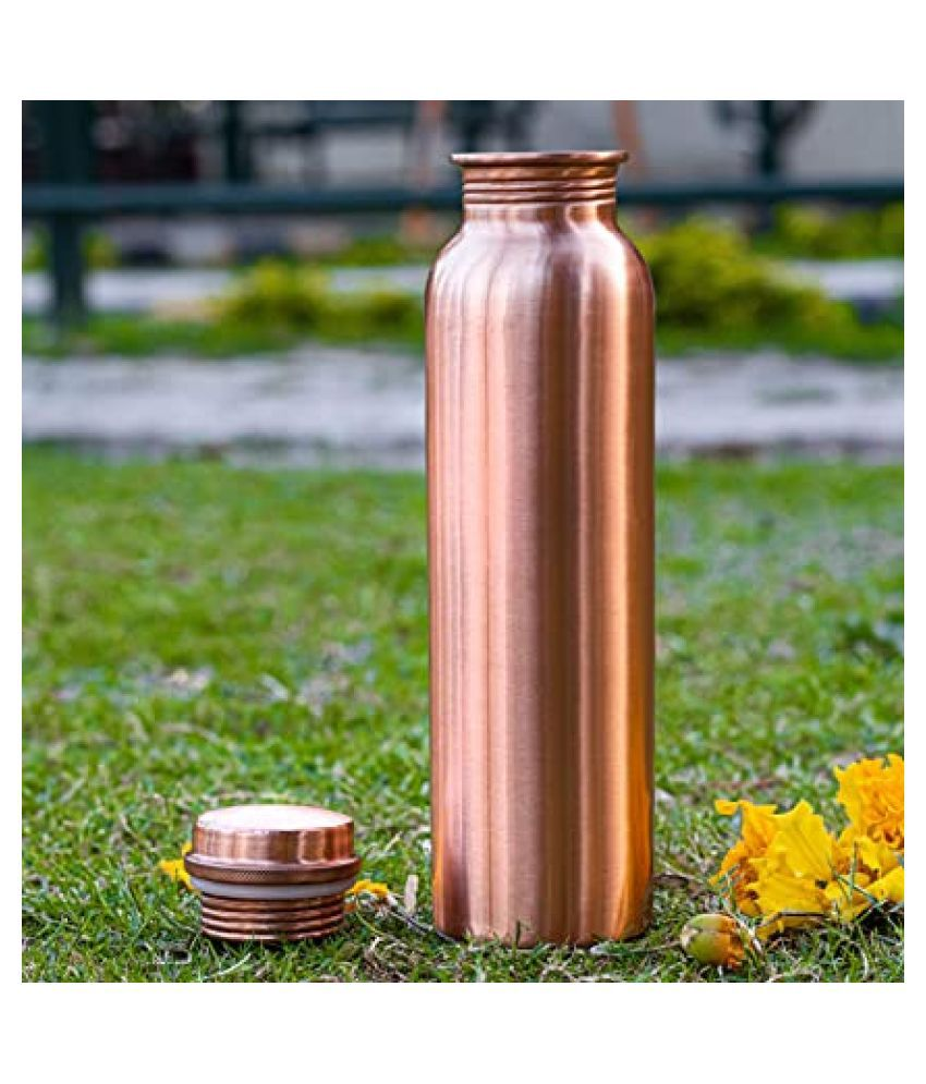 Pure Copper Water Bottle For Daily Use/Yoga/Gym 1000 Ml set of 1