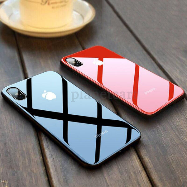 Special Edition Glossy Glass Silicone Soft Edge Case For iPhone X/XS