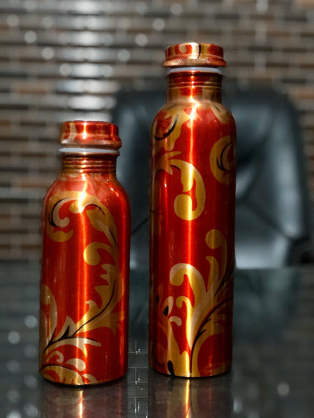 Pure Copper Modern Art Printed with Outside Lacquer Copper Water Bottle for Travelling Purpose,Gym,Yoga Ayurveda Healing | Set of 1