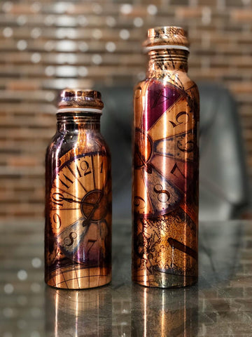 Pure Copper Modern Art Printed with Outside Lacquer Copper Water Bottle for Travelling Purpose,Gym,Yoga Ayurveda Healing | Set of 1 - Planetcart