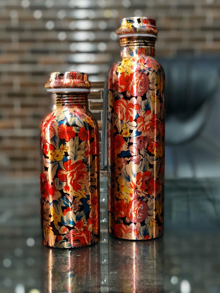 Pure Copper Modern Art Printed with Outside Lacquer Copper Water Bottle for Travelling Purpose,Gym,Yoga Ayurveda Healing |1000 ML Set of 1