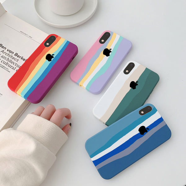 Rainbow Liquid Silicone Soft Case For iPhone XR