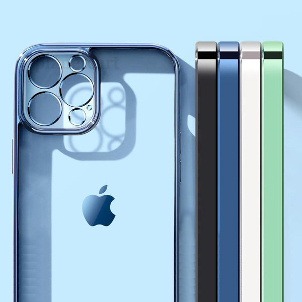 Luxury Square Clear Silicon Case With Camera Protection For iPhone 12 Series