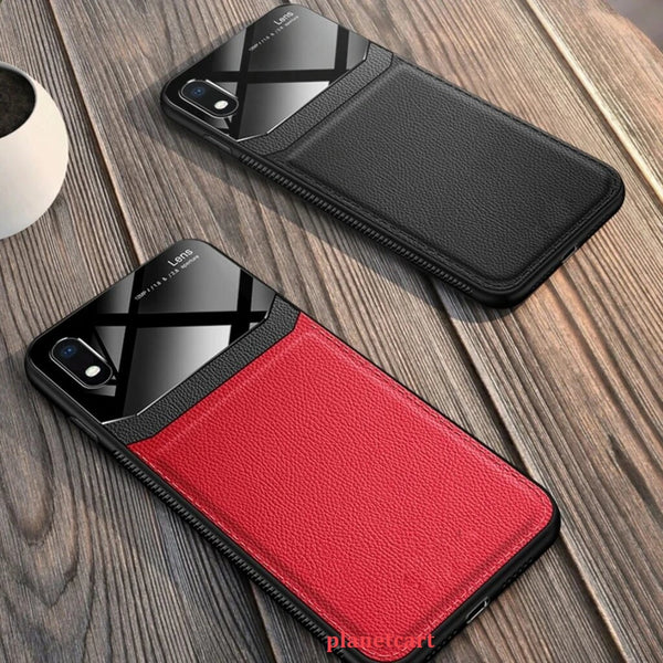 Joyroom Slim Sleek Leather Glass Card Holder Case For iPhone XR