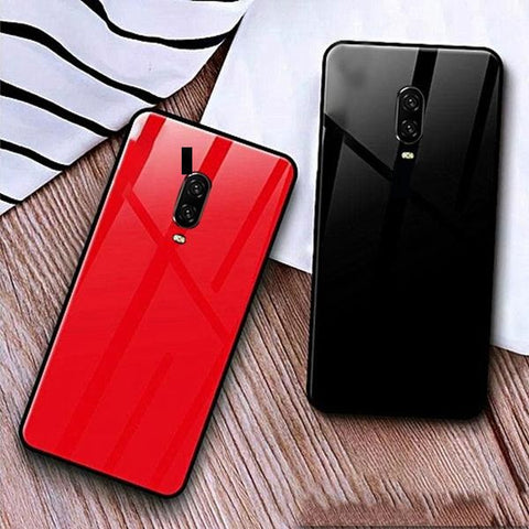 Special Edition Glossy Glass Silicone Soft Edge Case For Oneplus 6T
