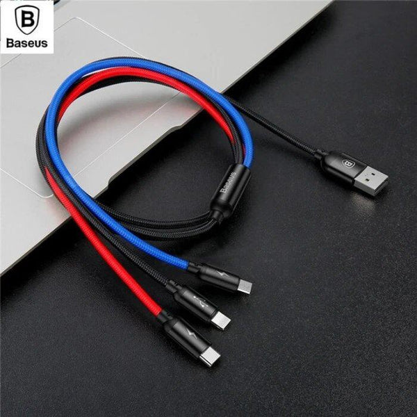 Baseus 3in1, 3.5A High Speed Data Sync & Charging Cable for Type C, iPhone & Micro USB Mobiles