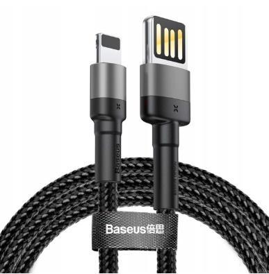 Baseus Cafule 2.4A Quick Charge Lightning Cable for Apple iPhone X, XS, XS Max, XR, iPad 100cm (Black Grey) - Planetcart