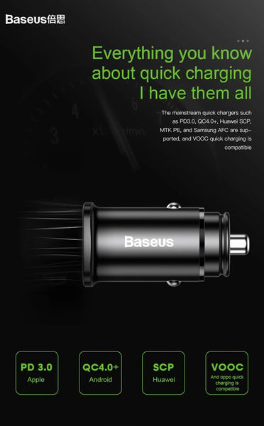 Baseus Quick Charge 4.0 30W Dual USB PD Type C Fast Charging Car Phone Charger For iPhone Samsung Xiaomi - Planetcart