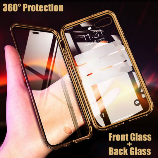 Electronic Auto Fit [ Front + Back ] Glass Magnetic Case For iPhone X/XS - Planetcart