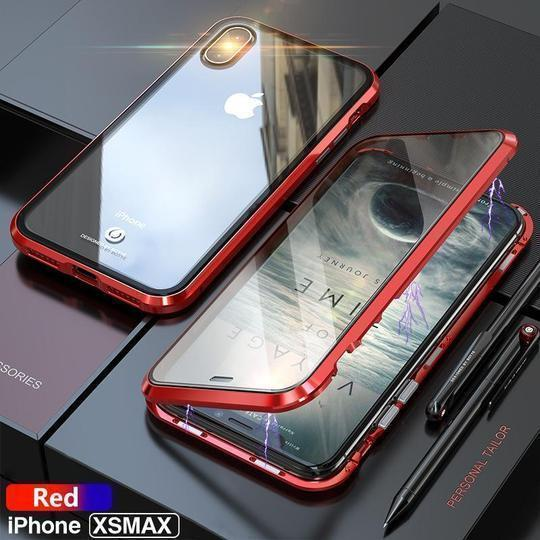 Electronic Auto Fit Front +Back Glass Magnetic Case [ Non Sensor Working ] For iPhone XS Max - Planetcart