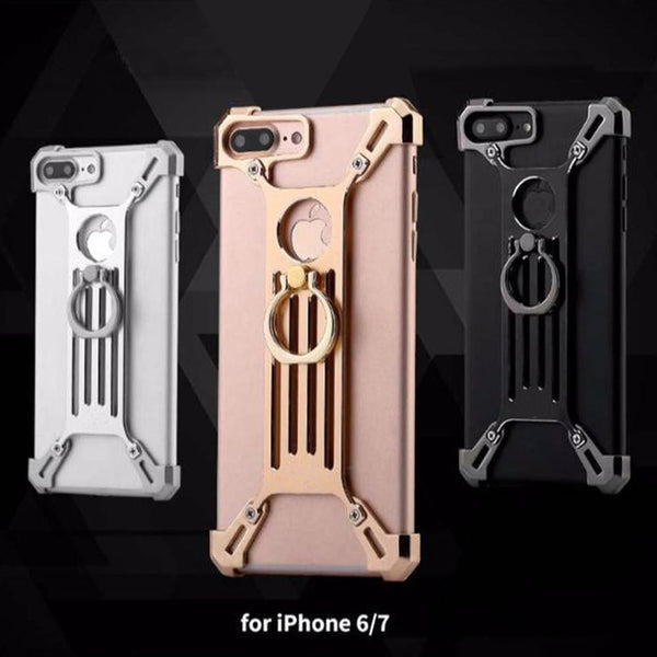 iPhone 8 Creative Metal Bumper Zinc Alloy Protective Case with Ring Bracket