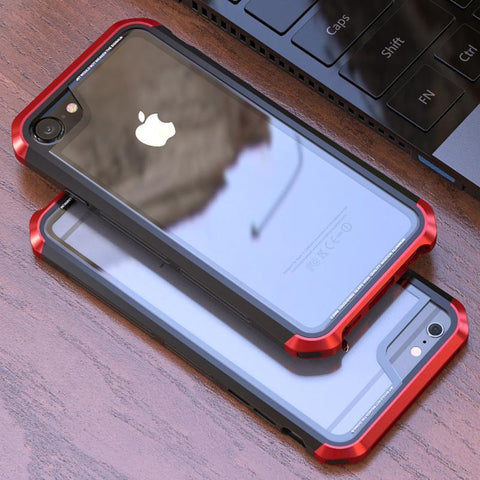 iPhone 8 Plus Aluminium Transparent Gorilla Glass Case