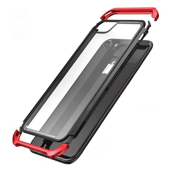 iPhone 8 Plus Aluminium Transparent Gorilla Glass Case - Planetcart