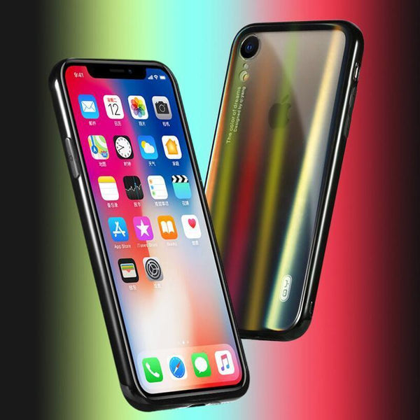 Aurora Gradient Black Glass Phone Case For  iPhone XR - Planetcart
