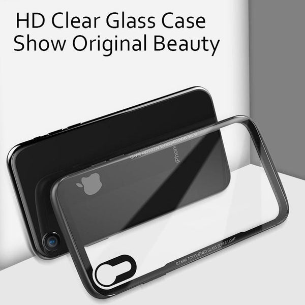 Luxury Transparent Glass Case For  iPhone XR - Planetcart
