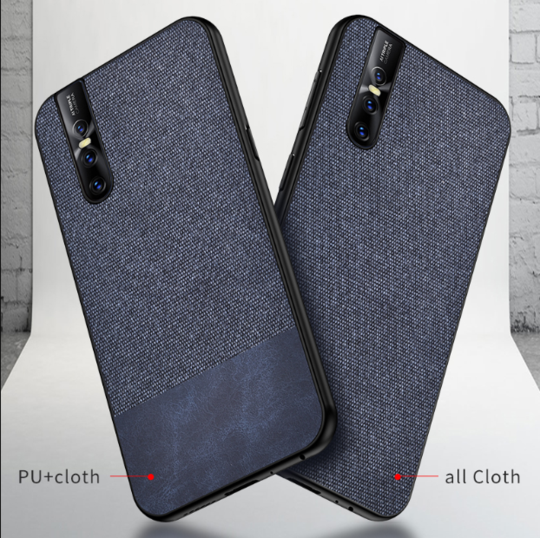 Dual Color Leather + Natural Cloth Texture Case For Vivo V15 Pro - Planetcart