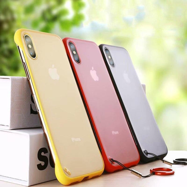 Frameless Semi Transparent Finger Ring Case For iPhone Xs Max