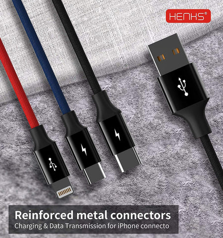 Henks Multi USB 3 in 1 3.5A Charging Nylon Data Cable Supports All Smartphone Devices