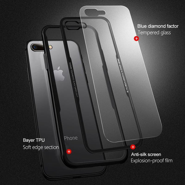 Original Black & Red Tempered Glass Case For iPhone 7 Plus - Planetcart