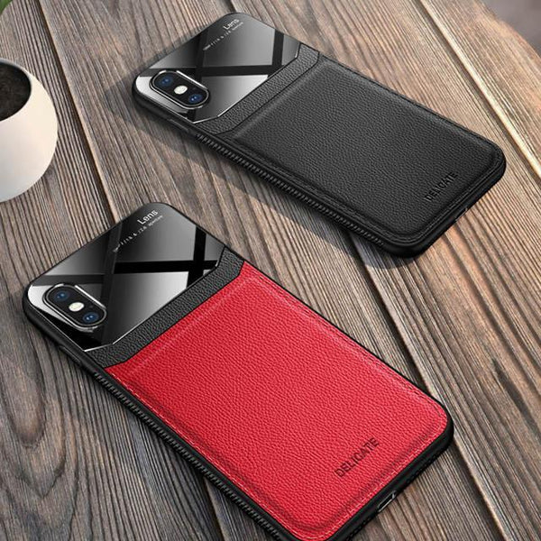 Joyroom Slim Sleek Leather Glass Card Holder Case For iPhone X/Xs - Planetcart