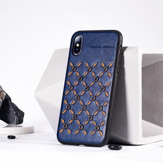 Rock Leather Weave Stud Case For iPhone XS Max - Planetcart