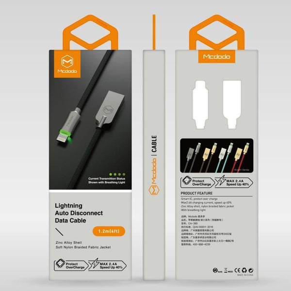McDodo LED Light Auto Disconnect Fast Charging USB Data Sync Lightning Cable for Apple iPhone - Planetcart
