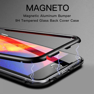 Tempered Glass Magnetic Adsorption Phone Case For iPhone 7 Plus - Planetcart