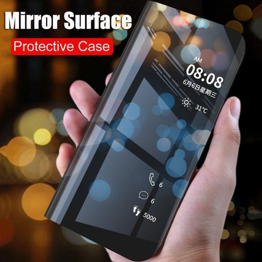 Mirror Clear View Flip Case [ Non Sensor Working ] Case For Samsung Note 10 - Planetcart
