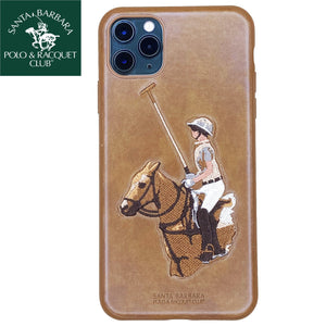 Santa Barbara Jockey Genuine Leather Case For iPhone 11 Pro Brown - Planetcart