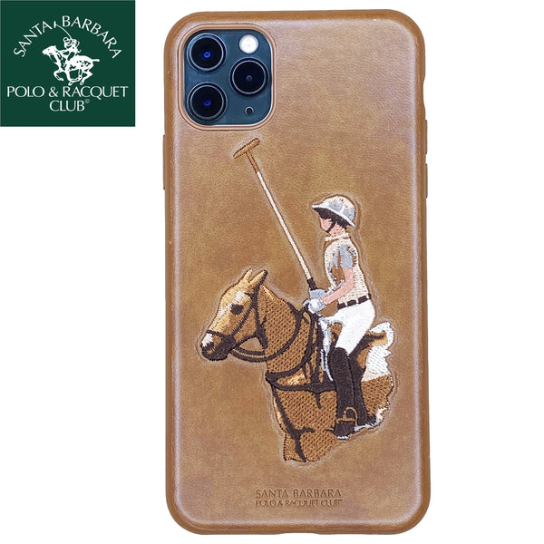 Santa Barbara Jockey Genuine Leather Case For iPhone 11 Pro Brown