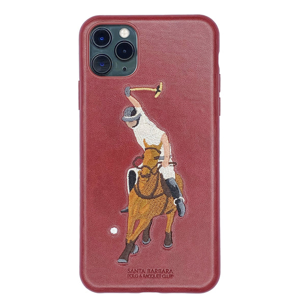 Santa Barbara Jockey Series Genuine Leather Case for iPhone 11 Pro Max Red