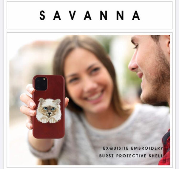 Santa Barbara Savana Genuine Leather Case for iPhone 11 Pro Max Cat