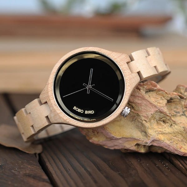 BoBo Bird Exquisite Ladies Quartz wooden Watch.