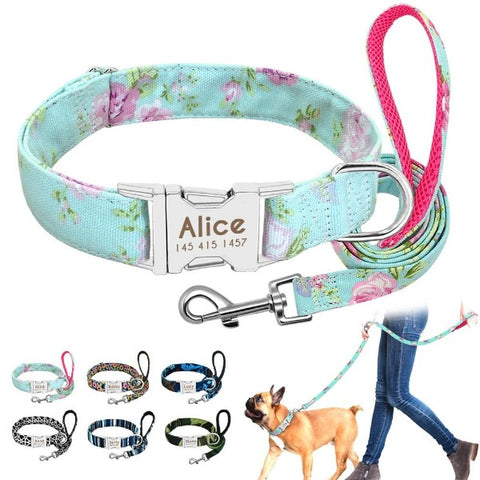 H2HS Personalised ID Dog Collar, with Leash.