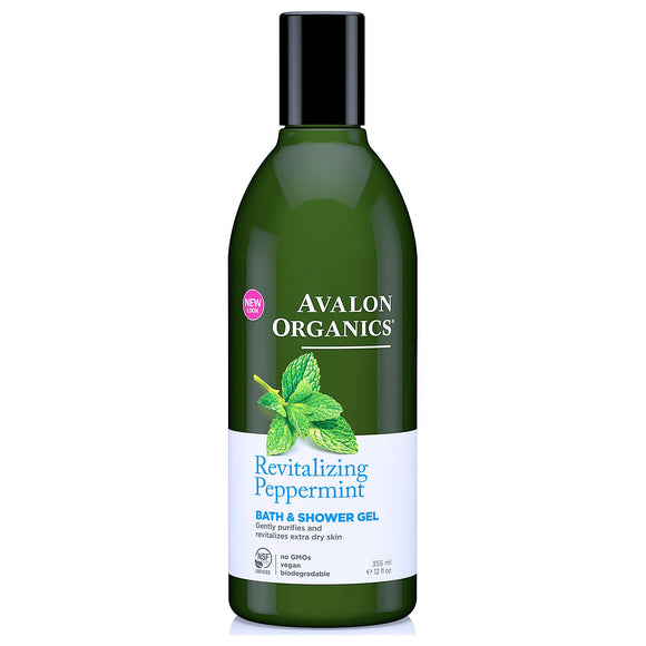 Avalon Organics Revitalising Peppermint Bath and Shower Gel 355ml (9307)