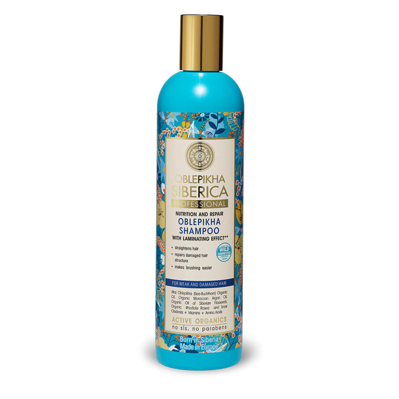 Natura Siberica Oblepikha Nutrition&Repair SHAMPOO with laminating effect for Weak and Damaged Hair 400ml (0345)