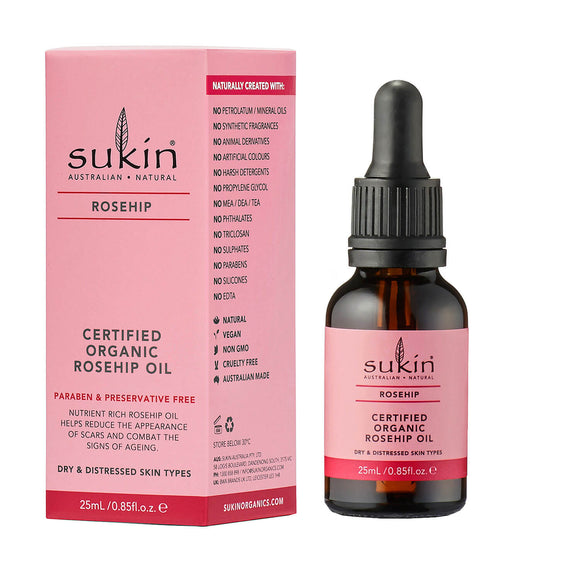 SUKIN_Rosehip Certified_Organic_Rosehip_Oil for dry and distressed skin types 25ml