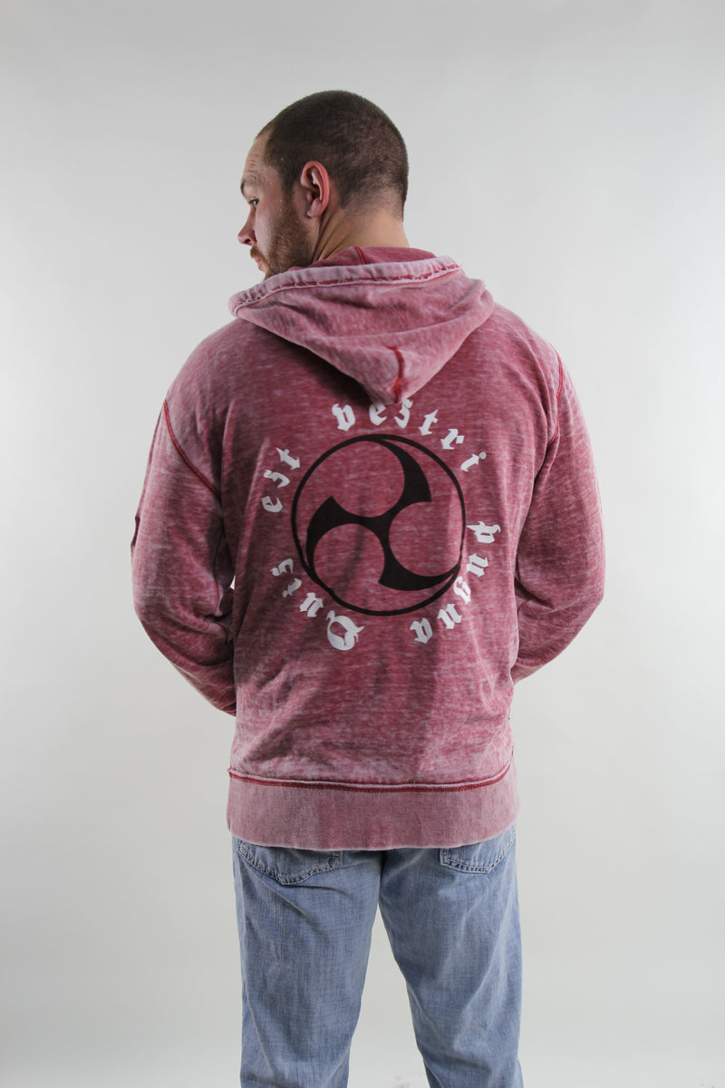 Zipped Red Burnout Hoodie