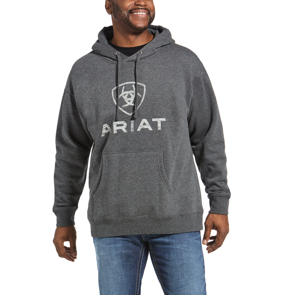ARIAT ROUGHGRAIN LOGO HOODIE - CHARCOAL HEATHER