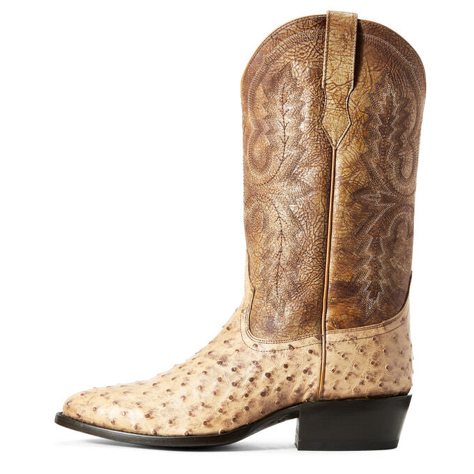 MEN'S ARIAT CIRCUIT LIGHT OAK FULL QUILL OSTRICH BOOTS - R TOE - El Toro Boots